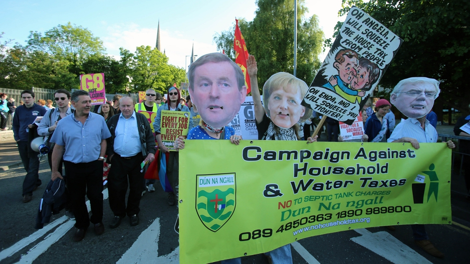 Anti-G8 campaigners take part in a protest rally in Enniskillen