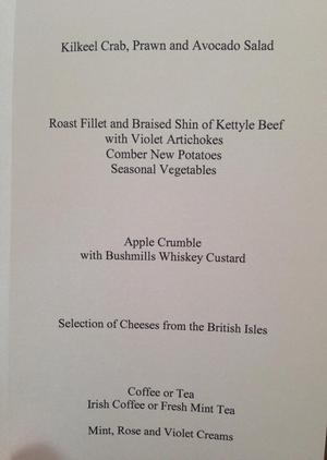 David Cameron tweeted the menu from last night's dinner