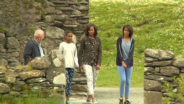 The family enjoyed a tour of Glendalough