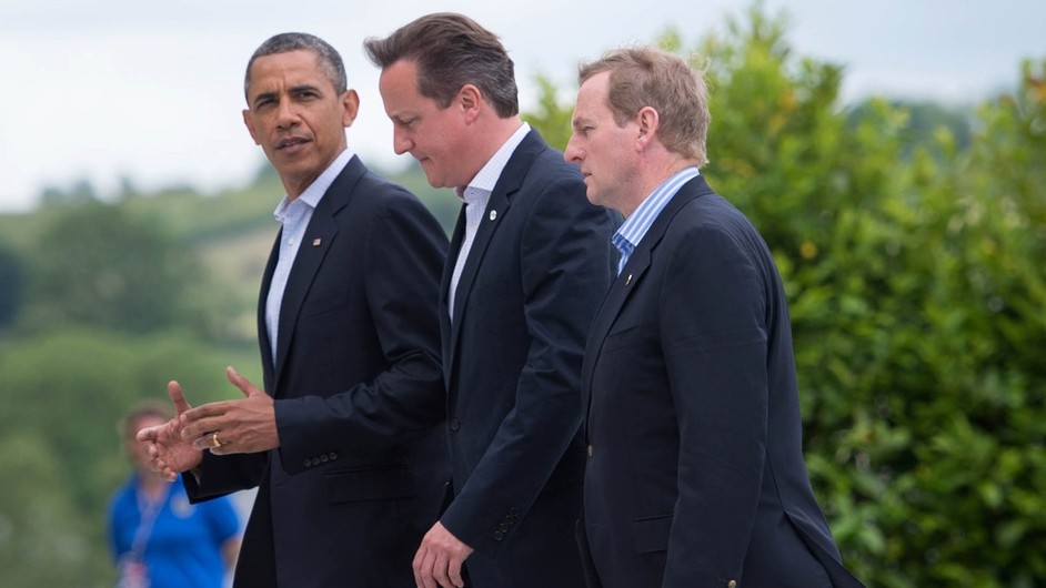 Barack Obama, David Cameron and Enda Kenny take a walk along the shores on Lough Erne