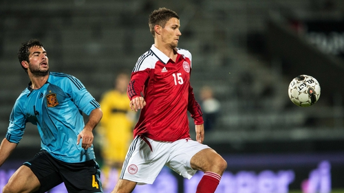Nicklas Helenius in action for Denmark at the UEFA European Under-21 Championships