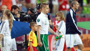 Damien Duff led Ireland out when he won his 100th cap against Italy at Euro 2012