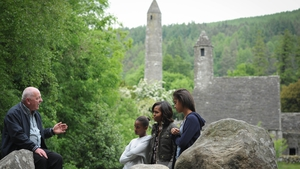 Tour guide George McClafferty discusses the history of Glendalough with the First Family