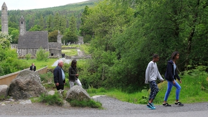US First Lady Michelle Obama and her daughters get a guided tour of Glendalough, Co Wicklow