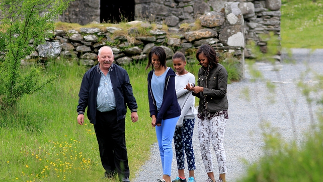 Michelle Obama and her daughters were given a tour of Glendalough by George McClafferty