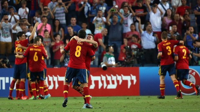 Spain players celebrate yet more European success