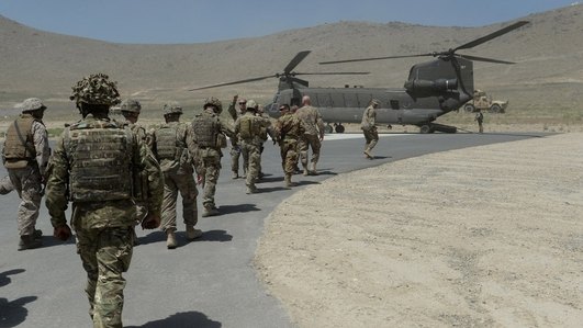 The formal handover of combat operations in Afghanistan from NATO forces to the Afghan Government.