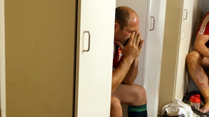 Rory Best is dejected after the Lions' first tour defeat in Australia