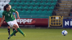 Fiona O'Sullivan scores one of her two goals in Ireland's 2-2 draw with Austria