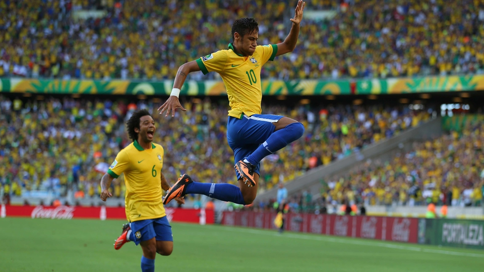 Brazil's Neymar celebrates his goal against Mexico