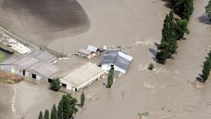Flooded houses in the Vallee des Gaves, near Tarbes