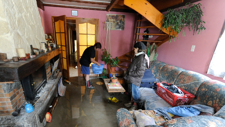 Houses in Pierrefitte-Nestalas were flooded after the Gave de Pau river burst its banks