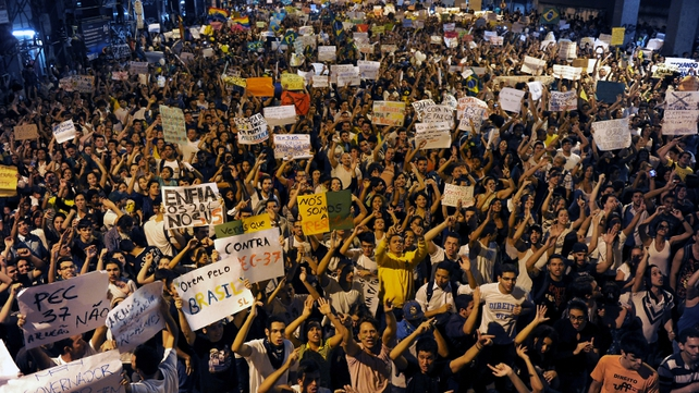 Yesterday's marches in Rio de Janeiro followed overnight demonstrations in the city that led to looting and vandalism