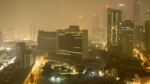 Downtown Singapore is covered in thick smoke haze