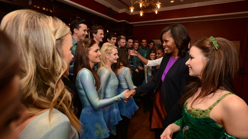 The Riverdance team meet US First Lady Michelle Obama
