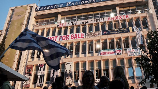 Protests have continued outside the headquarters of ERT since it was pulled off the air