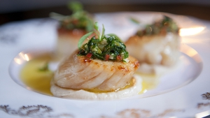 Seared Scallops with Charred Cauliflower Puree, Chilli Parsley and Garlic Oil