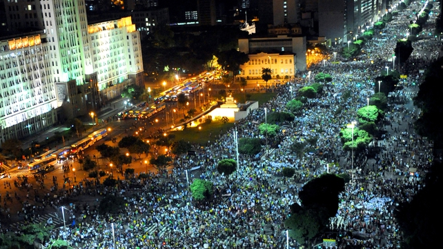 People march in Rio during the 'Tropical Spring' protest against corruption and price hikes
