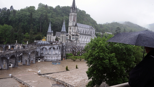The domain (surrounding area in the grotto complex) in Lourdes was flooded after the Gave de Pau burst its banks