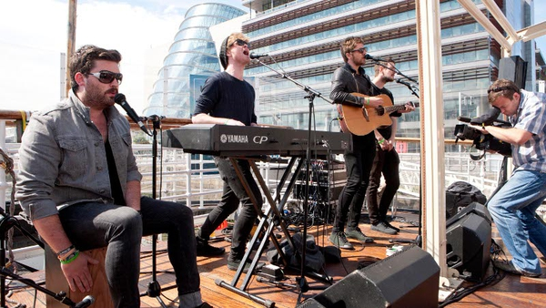 Kodaline launched In a Perfect World on the Liffey yesterday. Photo: John C Cooney