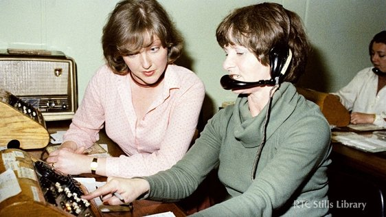 Marian Finucane in RTÉ Telephone Switchroom, 1979, Stills Library 2553/078