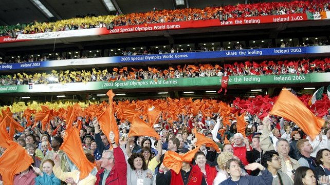 Athletes and spectators at the Opening Ceremony of the 2003 Special Olympics at Croke Park.
