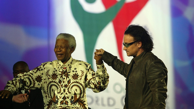 Nelson Mandela joins Bono on stage in Croke Park to officially open the games.