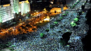 People march in downtown Rio de Janeiro, during a protest of what is now called the 'Tropical Spring' against corruption and price hikes