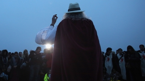 The Archdruid of Stonehenge and Britain conducts a dawn ceremony for the solstice