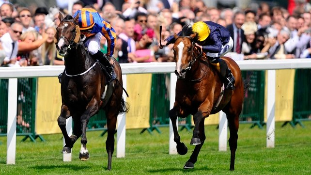 Hillstar (R) moves ahead of Battle of Marengo to win the King Edward VII Stakes