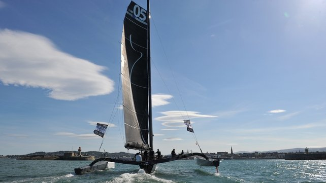 The Spindrift racing yacht is steered by French sailor, Yann Guichard