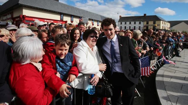 Max Kennedy, grandson of Bobby Kennedy, meets local people in New Ross