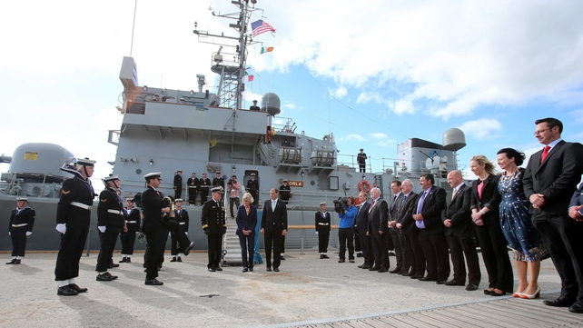The eternal flame from John F Kennedy's grave is delivered by Jean Kennedy Smith and the Irish naval service