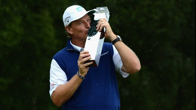 Ernie Els celebrates his Munich Open win