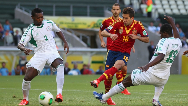 Jordi Alba opens the scoring for Spain