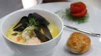 Seafood Chowder with Tomato and Fennel scones - Aengus Mac Grianna serves up this tasty dish on Celebrity MasterChef Ireland.
