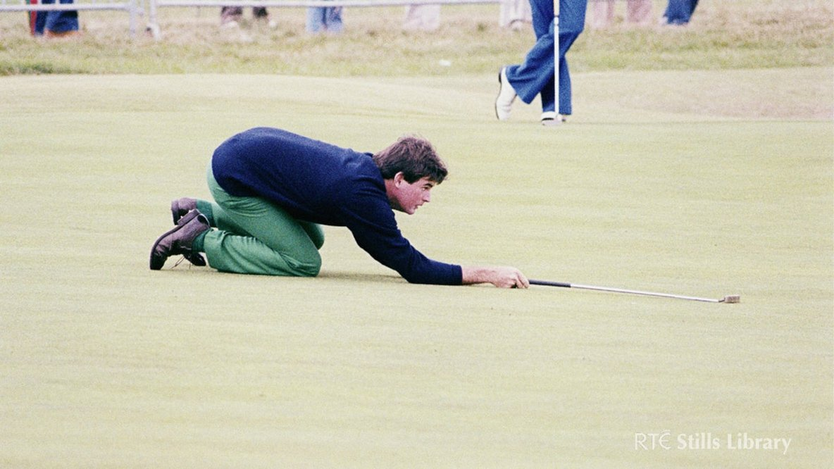 Golfer lining up a putt in 1979, but who is he?