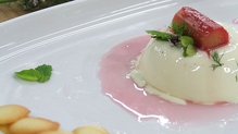 Panna Cotta with Rhubarb and Almond Tuille wafers