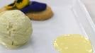 Roquefort and Honey Ice cream - Tracy Piggott serves up Roquefort and honey Ice cream, with caramelized pears, honey cream sauce, apple glaze and parmesan shortbread crisp on MasterChef Ireland.