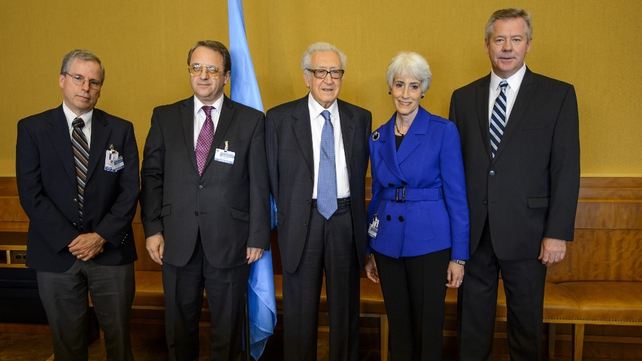 (L-R) US ambassador to Syria Robert Ford, Russian Deputy Foreign Minister Mikhail Bogdanov, UN-Arab League envoy to Syria Lakhdar Brahimi, US Undersecretary of State for Political Affairs Wendy Sherman and Russian Deputy Foreign Minister Gennady Gatilov h