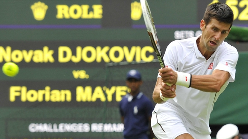 Novak Djokovic beat Florian Mayer 6-3 7-5 6-4