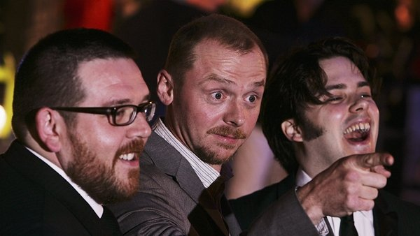 (l-r) Frost, Pegg and Wright - Joining in the fun at Edgar Wright House at the Light House Cinema