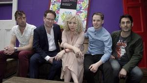 HWCH organiser Angela Dorgan of First Music Contact with L-R: Steve Reddy (HWCH), Gary Leyden (Director NDRC Launchpad), Brendan Millar (HWCH) and Declan O'Brien (HWCH Digital)