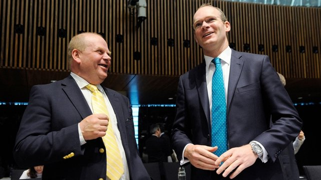 Swedish Agriculture Minister Eskil Erlandsson and Simon Coveney share a joke at talks in Luxembourg earlier this week