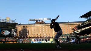 Nick Swisher of the Cleveland Indians waits to bat against the Baltimore Orioles at Camden Yards, Baltimore