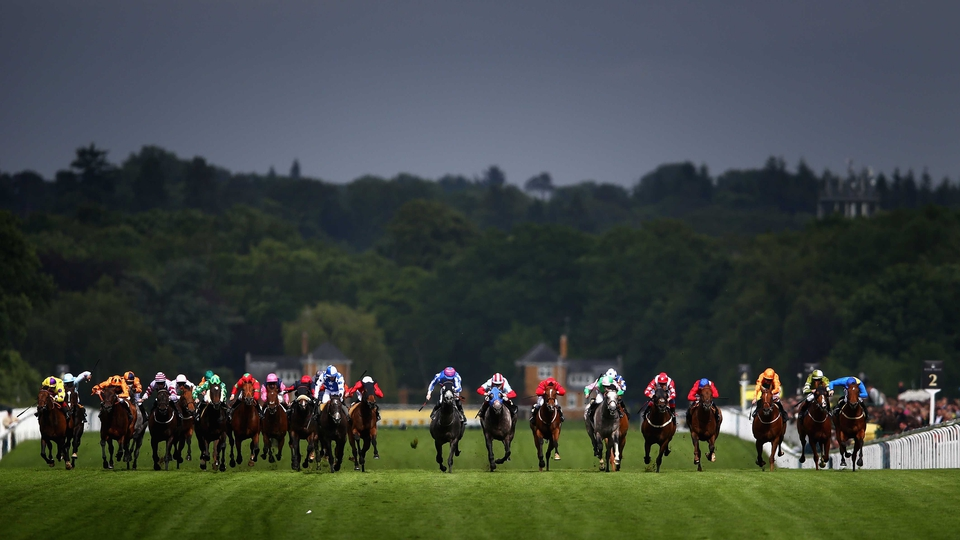 The Wokingham field sprint for home under a gloomy sky at Royal Ascot
