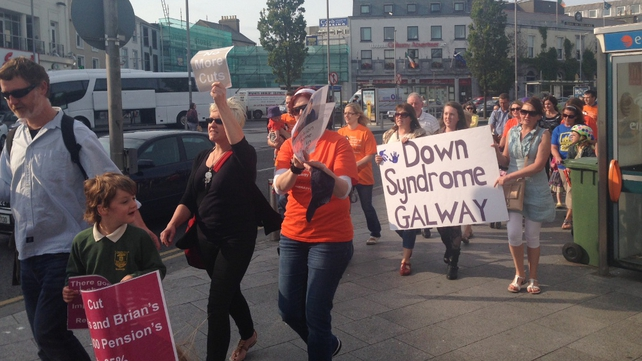 Protesters gathered in Galway to voice concerns over SNA cuts