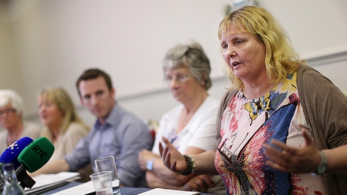 Mary Smith (right) joins other Magdalene survivors at a press conference in Ballsbridge to give their reaction to the scheme