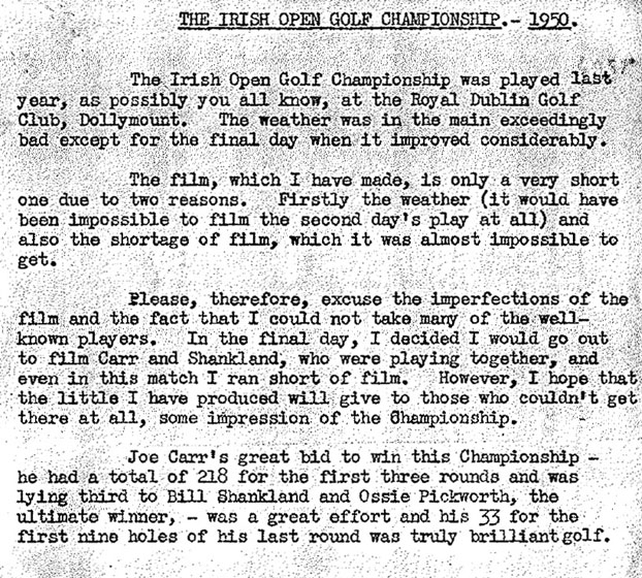 Norman Hodgson's note on filming 1950 Irish Open Golf