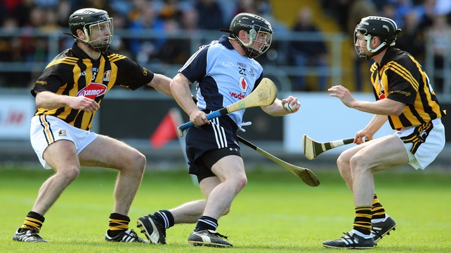 Dublin's David O'Callaghan is tackled by JJ Delaney and Conor Fogarty on Sunday